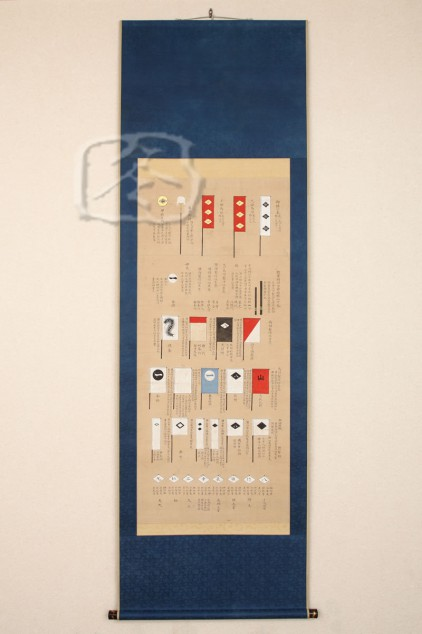 #ACC411 18th Century Hanging Scroll Depicting 'Hata' & 'Sashimono' Of The Takeda Clan