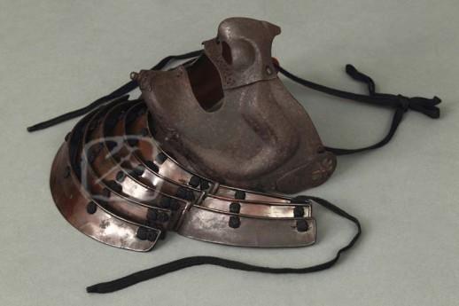 #ACC502 16th Century Russet Iron Mask, signed ASAI KATSUSHIGE