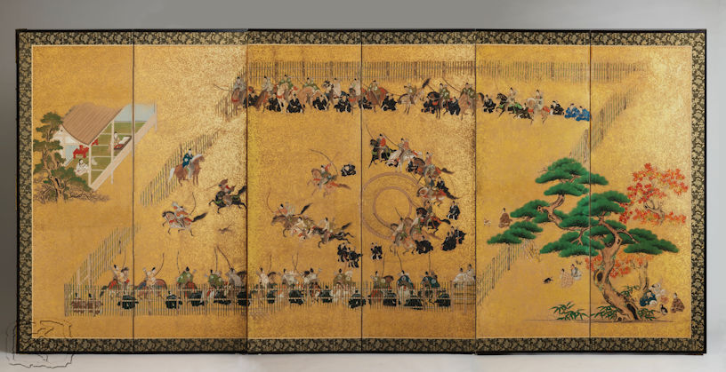 #205 A SIX PANEL FOLDING SCREEN DEPICTING 'INUOUMONO' (DOG CHASING SPORT)